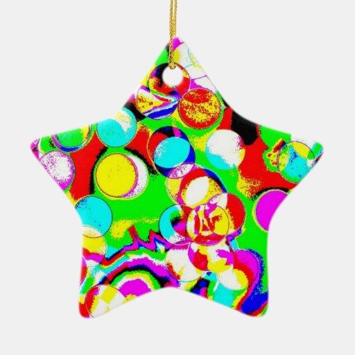 Luces de la fiesta de Navidad de Psychodelic Adorno Navideño De Cerámica En Forma De Estrella