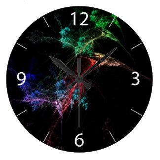 Luces de la magia del arte abstracto reloj redondo grande