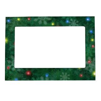 Luces de la nieve del navidad marcos magnéticos para fotos