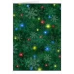 Luces de la nieve del navidad tarjeta de felicitación