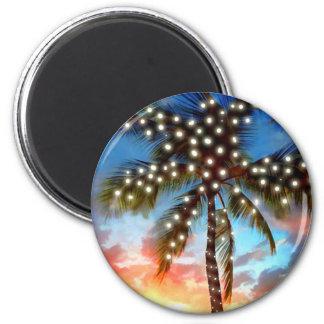 Luces de la palmera del día de fiesta en la puesta imán para frigorifico