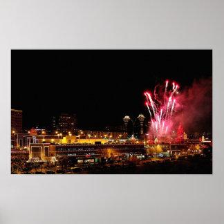 Luces de la plaza de Kansas City, fuegos Póster