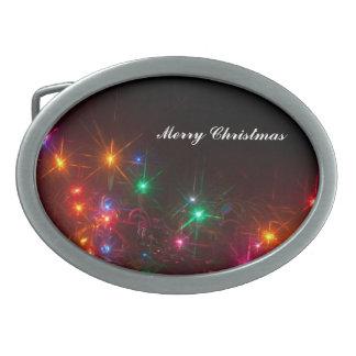 Luces de las Felices Navidad Hebillas De Cinturón Ovales