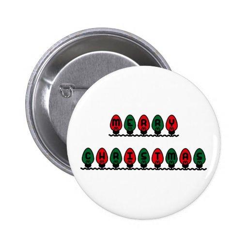 Luces de las Felices Navidad Pin Redondo 5 Cm