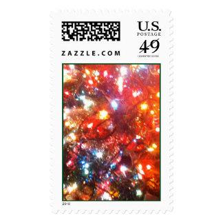 Luces de navidad alegres timbres postales