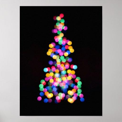 Luces de navidad borrosas póster