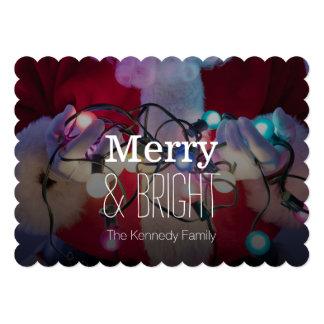 """Luces de navidad coloreadas tenencia de Papá Noel Invitación 5"""" X 7"""""""