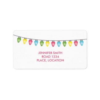 Luces de navidad coloridas etiqueta de dirección