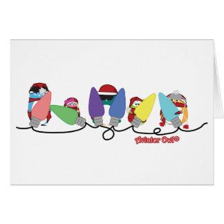 Luces de navidad de los búhos del aviador tarjeta de felicitación