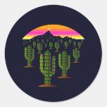 Luces de navidad del cactus del Saguaro de Arizona Etiquetas Redondas