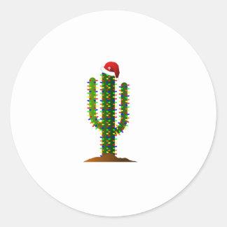 Luces de navidad del cactus del Saguaro de Arizona Pegatina Redonda