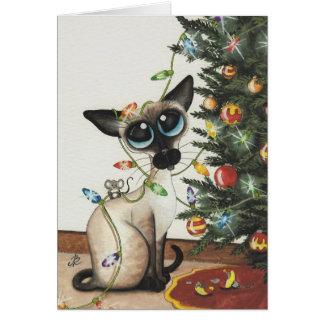 Luces de navidad del gato siamés de AmyLyn Bihrle Tarjeta De Felicitación
