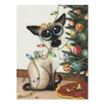 Luces de navidad del gato siamés de AmyLyn Bihrle Postal