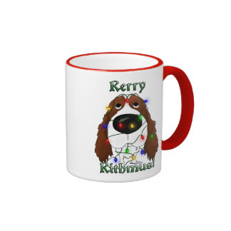 Luces de navidad del perro de aguas de saltador in taza de café