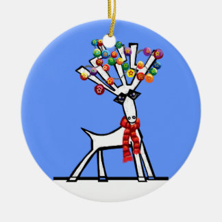 Luces de navidad del reno adorno navideño redondo de cerámica