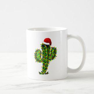 Luces de navidad del Saguaro Taza Básica Blanca