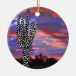 Luces de navidad en el cactus del Saguaro del desi Ornamentos De Reyes Magos