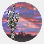 Luces de navidad en el cactus del Saguaro del Pegatinas Redondas