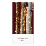 Luces de navidad en troncos del abedul tarjeta personal con foto