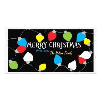 Luces de navidad tarjeta con foto personalizada