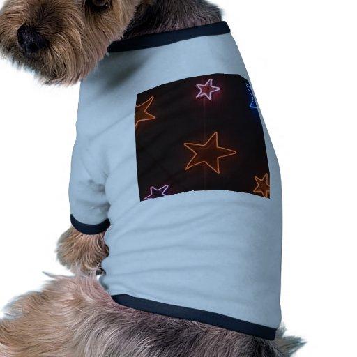Luces de neón asteroides camiseta con mangas para perro