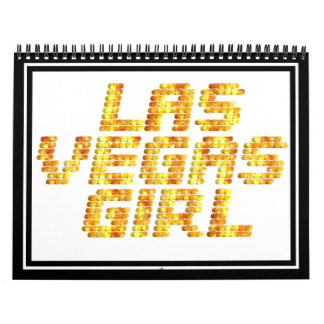 Luces de neón - chica de Las Vegas Calendario