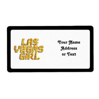 Luces de neón - chica de Las Vegas Etiqueta De Envío