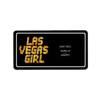 Luces de neón - chica de Las Vegas Etiqueta De Dirección