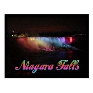 Luces de Niagara Falls en la noche Postal