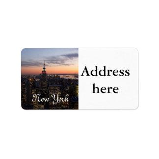 Luces de Nueva York Etiquetas De Dirección