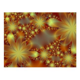 Luces de oro de la flor postales