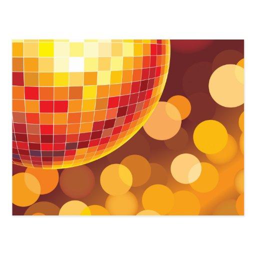 Luces de oro del tiempo del fiesta de disco tarjeta postal