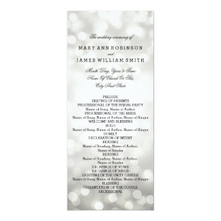 Luces del brillo de la plata del programa del boda invitación 10,1 x 23,5 cm