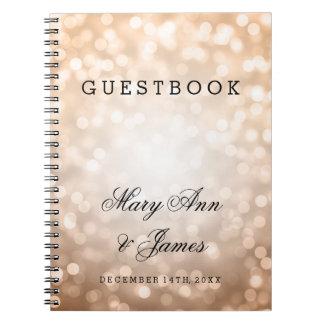 Luces del brillo del cobre del Guestbook del boda Libreta Espiral