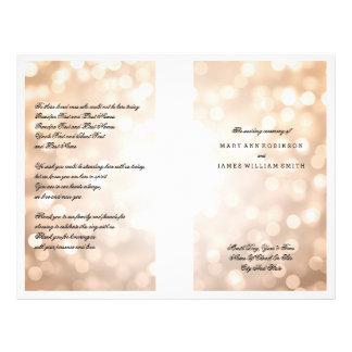 """Luces del brillo del cobre del programa del boda folleto 8.5"""" x 11"""""""