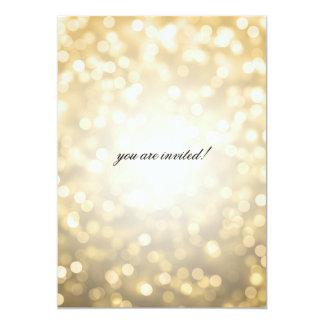 Luces del brillo del oro de la ducha del boda del invitacion personal