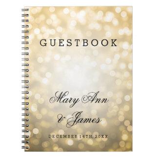 Luces del brillo del oro del Guestbook del boda Libros De Apuntes Con Espiral