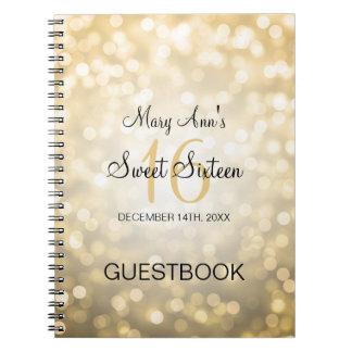 Luces del brillo del oro del Guestbook del fiesta Libro De Apuntes Con Espiral