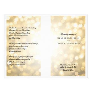 """Luces del brillo del oro del programa del boda folleto 8.5"""" x 11"""""""