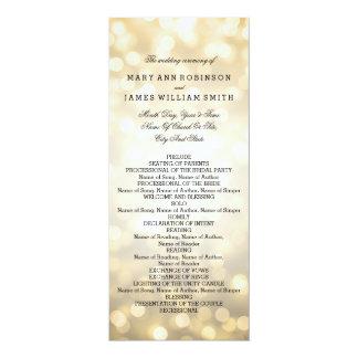 """Luces del brillo del oro del programa del boda invitación 4"""" x 9.25"""""""