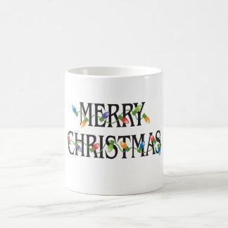Luces del día de fiesta de las Felices Navidad Taza Clásica