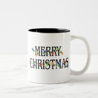 Luces del día de fiesta de las Felices Navidad Taza De Dos Tonos