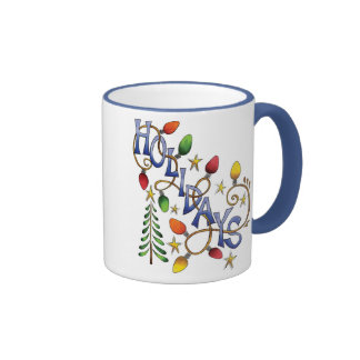 Luces del día de fiesta tazas de café