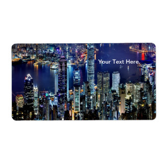 Luces del horizonte de la ciudad de Hong Kong en Etiqueta De Envío