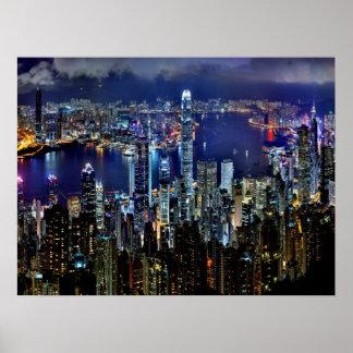 Luces del horizonte de la ciudad de Hong Kong en Póster
