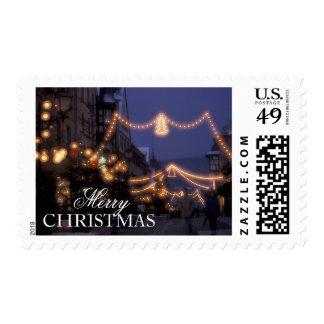 Luces del mercado del navidad sello postal