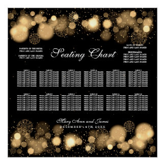 Luces del oro de la carta del asiento del boda del póster
