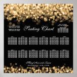 Luces del oro de la carta del asiento del boda posters