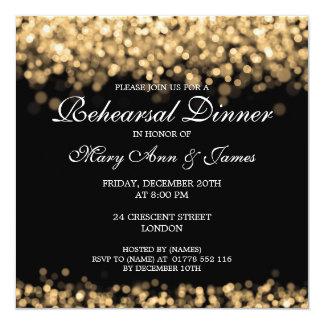"""Luces del oro de la cena del ensayo del boda invitación 5.25"""" x 5.25"""""""