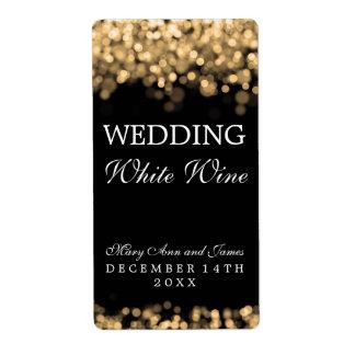 Luces del oro de la etiqueta del vino del boda etiquetas de envío